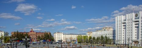 Khabarovsk - may 2019: the Central square of the city. Russia. Khabarovsk - may 2019: the Central square of the city stock photography