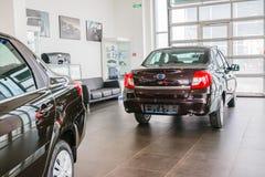Showroom and car Datsun of dealership Prestig avto in Kirov city. Russia, Kirov - May 16, 2017: Showroom and car Datsun of dealership Prestig avto in Kirov city Stock Photos
