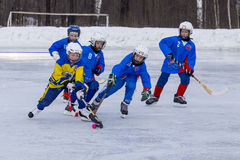RUSSIA, KOROLEV - JANUARY 15, 2015: 3-d stage children's hockey League bandy, Russia Stock Photo