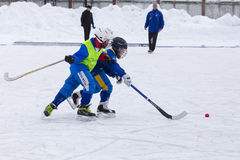 RUSSIA, KOROLEV - JANUARY 15, 2015: 3-d stage children's hockey League bandy, Russia. Stock Photos