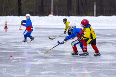 RUSSIA, KOROLEV - JANUARY 15, 2015: 3-d stage children's hockey League bandy, Russia Royalty Free Stock Photos