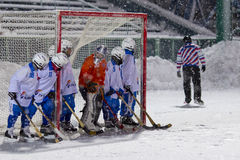 RUSSIA, KOROLEV - JANUARY 15, 2015: 3-d stage children's hockey League bandy, Russia. Royalty Free Stock Images