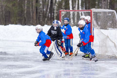 RUSSIA, KOROLEV - JANUARY 15, 2015: 3-d stage children's hockey League bandy, Russia stock image