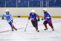RUSSIA, KOROLEV - JANUARY 15, 2015: 3-d stage children's hockey League bandy, Russia. Royalty Free Stock Photography