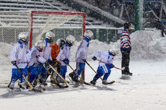 RUSSIA, KOROLEV - JANUARY 15, 2015: 3-d stage children's hockey League bandy, Russia. Stock Image