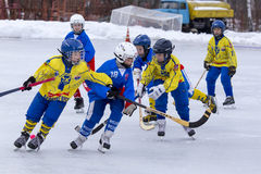 RUSSIA, KOROLEV - JANUARY 15, 2015: 3-d stage children's hockey League bandy, Russia Stock Images