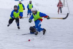RUSSIA, KOROLEV - JANUARY 15, 2015: 3-d stage children's hockey League bandy, Russia. Stock Images