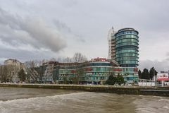 Commercial and business center of Alexandria on the banks of the river Sochi in a cloudy spring day stock photos