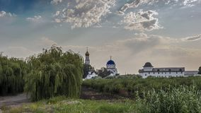 Russia, Krasnodar region. View of the female monastery. In honor of the icon of the Mother of God `Vsetsaritsa`, in Greek - `Pantanassa` - the first monastery stock photography