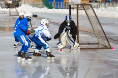 RUSSIA, KRASNOGORSK - MARCH 03, 2015: final stage children's hockey League bandy, Russia. Royalty Free Stock Image