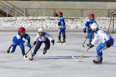 RUSSIA, KRASNOGORSK - MARCH 03, 2015: final stage children's hockey League bandy, Russia. Stock Image