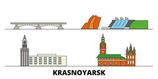 Russia, Krasnoyarsk flat landmarks vector illustration. Russia, Krasnoyarsk line city with famous travel sights, skyline. Russia, Krasnoyarsk flat landmarks stock illustration