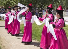 Russia, Krasnoyarsk, June 2019: people in national costumes on the day of Russia royalty free stock photography