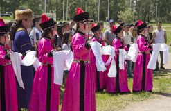 people in national costumes on the day of Russia stock photos