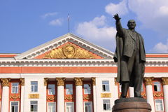 Russia, Kursk. Administration building and statue of Lenin Vladimir. Monument of Lenin in Red Squier in Kursk Stock Photo