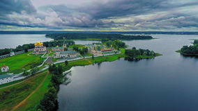 Russia, lake Valday, the Iveron monastery, (Aerial Drone flights) stock video footage