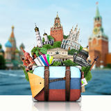 Russia, landmarks Moscow, retro suitcase Stock Photo