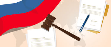 Russia law constitution legal judgment justice legislation trial concept using flag gavel paper and pen Stock Image
