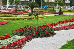 Russia. Lawn with flowers at the exhibition of achievements of the national economy in Moscow. June 21, 2016. Russia. Moscow. Lawn with flowers at the Royalty Free Stock Photo