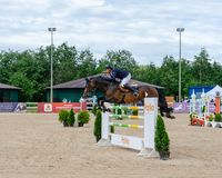 Russia, Leningrad region, Enkolovo village - JULY 7, 2019:INTERNATIONAL COMPETITIONS CSI ** - WORLD CUP, World Cup stage royalty free stock image