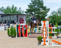 Russia, Leningrad region, Enkolovo village - JULY 7, 2019:INTERNATIONAL COMPETITIONS CSI ** - WORLD CUP, World Cup stage stock photos