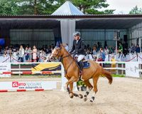 Russia, Leningrad region, Enkolovo village - JULY 7, 2019:INTERNATIONAL COMPETITIONS CSI ** - WORLD CUP, World Cup stage royalty free stock photography