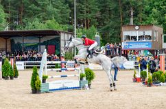 Russia, Leningrad region, Enkolovo village - JULY 7, 2019:INTERNATIONAL COMPETITIONS CSI ** - WORLD CUP, World Cup stage stock photo