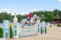 Russia, Leningrad region, Enkolovo village - JULY 7, 2019:INTERNATIONAL COMPETITIONS CSI ** - WORLD CUP, World Cup stage stock photography
