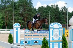 Russia, Leningrad region, Enkolovo village - JULY 7, 2019:INTERNATIONAL COMPETITIONS CSI ** - WORLD CUP, World Cup stage stock images