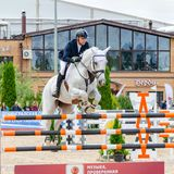 Russia, Leningrad region, Enkolovo village - JULY 7, 2019:INTERNATIONAL COMPETITIONS CSI ** - WORLD CUP, World Cup stage stock image