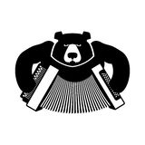 Russia logo bear with accordion. Grizzlies with an harmonica. Ru Stock Images