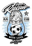 From Russia with Love. Vector illustration. Russian traditional doll matryoshka with old school tattoos holds soccer ball in her hands. Calligraphic typography Royalty Free Stock Photos