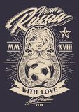 From Russia with Love. Vector illustration. Russian traditional doll matryoshka with old school tattoos holds soccer ball in her hands. Calligraphic typography Royalty Free Stock Image