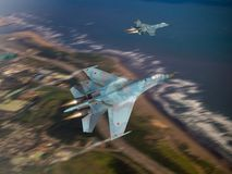 Russia made fighter aircraft. (Computer illustration, blur background style) 3D Render of 2 modern, Russian made Stock Image