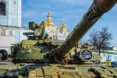 Russia-made tank seized by the Ukrainian troops in eastern regio Stock Photography
