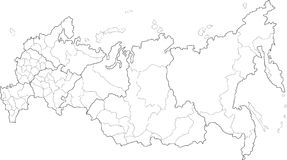 Russia map. Vector map of Russia on white background. The Russia map has borders of areas and regions