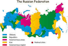 Russia map. Russian Federation designed in illustration with the regions (Map is hight resolution vector illustration