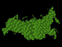 Russia map with binary code Stock Photos