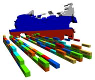 Russia map with export containers Royalty Free Stock Photo