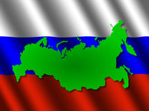 Russia map on flag Royalty Free Stock Image