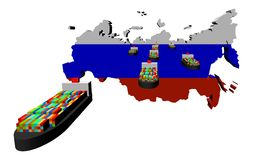 Russia map flag with container ships Royalty Free Stock Images