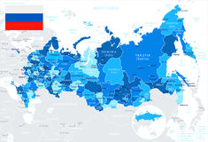 Russia - map and flag - illustration Stock Images