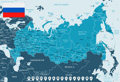 Russia - map and flag - illustration Royalty Free Stock Image