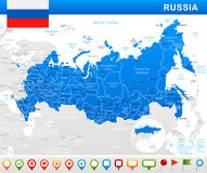 Russia - map and flag - illustration Royalty Free Stock Photo