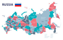 Russia - map and flag - illustration Royalty Free Stock Images