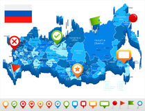 Russia - map and flag - illustration Stock Photography