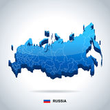 Russia - map and flag - illustration Royalty Free Stock Photography
