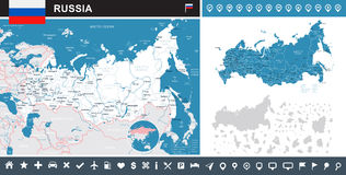 Russia - map and flag - infographic illustration Stock Photography