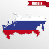 Russia map with flag inside and ribbon Royalty Free Stock Image