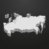 Russia map in gray on a black background 3d Stock Image